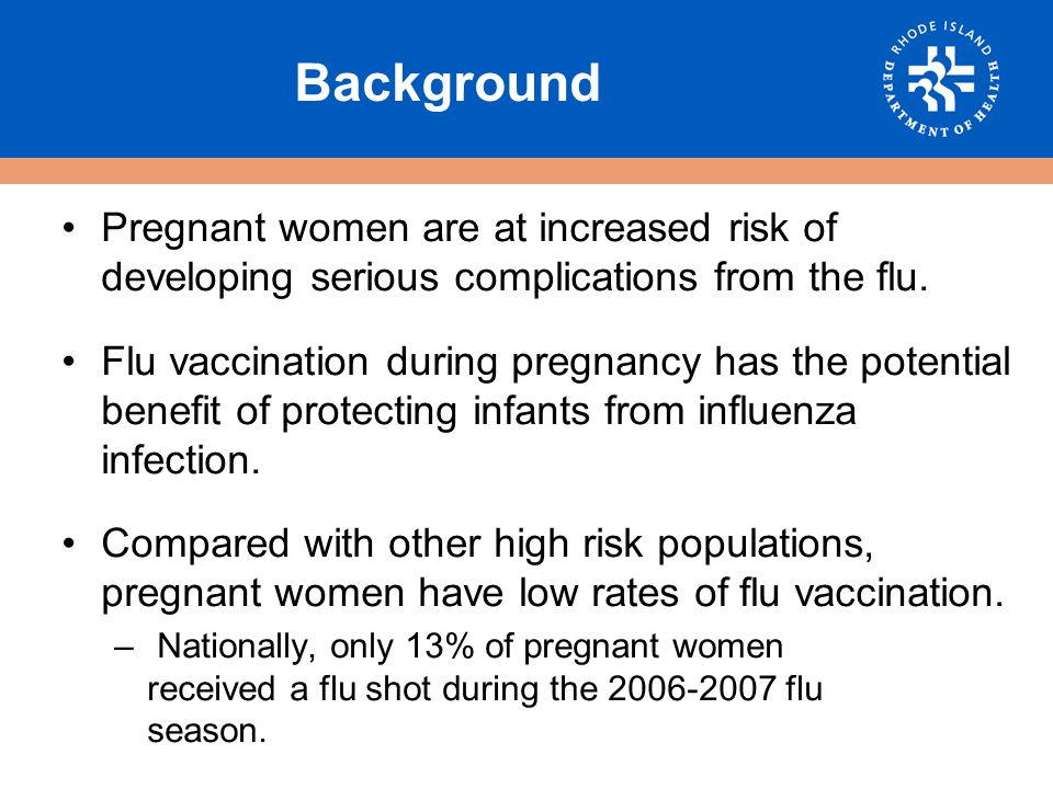 % of Women Who were Offered a Flu Shot by Health Care Provider during Pregnancy Rhode Island, 2005-2007 P < 0.6358 Source: RI Pregnancy Risk Assessment Monitoring System, 2005-2007
