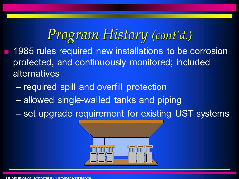 DEM/Office of Technical & Customer Assistance Program History (cont'd.) n 1985 rules required new installations to be corrosion protected, and continu