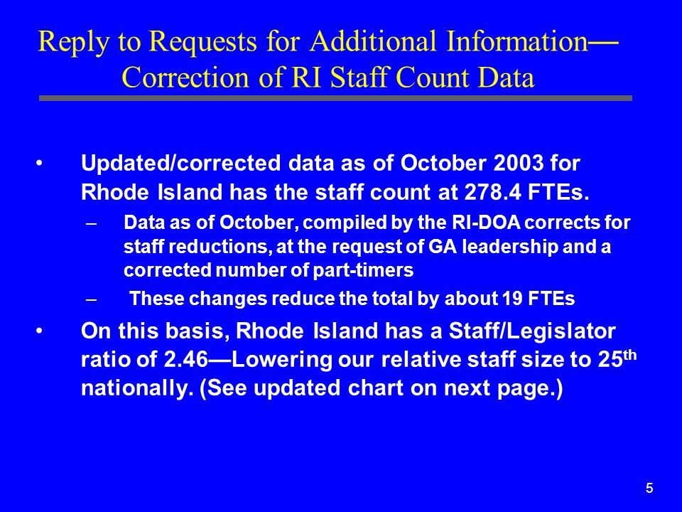 5 Reply to Requests for Additional Information — Correction of RI Staff Count Data Updated/corrected data as of October 2003 for Rhode Island has the