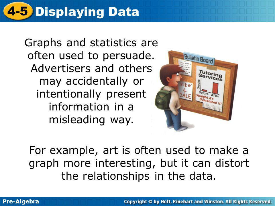 Pre-Algebra 4-5 Displaying Data For example, art is often used to make a graph more interesting, but it can distort the relationships in the data.