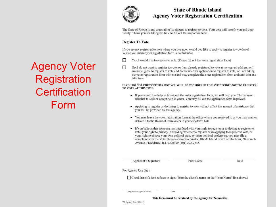 RI Board of Elections Agency Voter Registration Site Coordinators ...