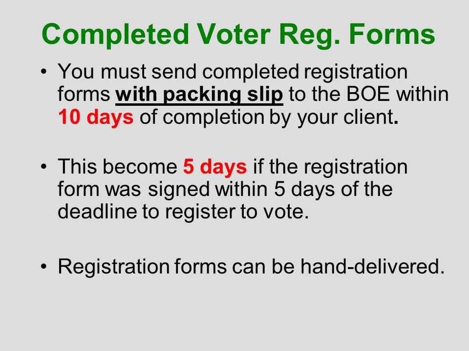 Completed Voter Reg.