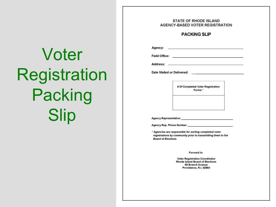 Voter Registration Packing Slip