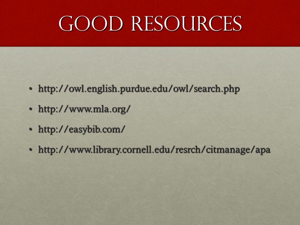 Good Resources http://owl.english.purdue.edu/owl/search.phphttp://owl.english.purdue.edu/owl/search.php http://www.mla.org/http://www.mla.org/ http://easybib.com/http://easybib.com/ http://www.library.cornell.edu/resrch/citmanage/apahttp://www.library.cornell.edu/resrch/citmanage/apa