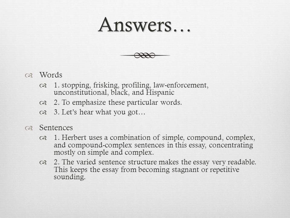 Answers…  Words  1.