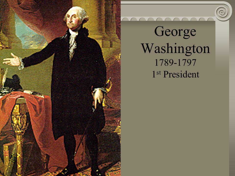 o George Washington (1789-1797) o John Adams (1797-1801) o Thomas Jefferson (1801-1809) o James Madison (1809-1817) o James Monroe (1817-1825) o John Quincy Adams (1825-1829) o Andrew Jackson (1829-1837) o Martin Van Buren (1837-1841) o William Henry Harrison (1841) o John Tyler (1841-1845) o James Polk (1845-1849) o Zachary Taylor (1849-1850) o Millard Fillmore (1850-1853) o Franklin Pierce (1853-1857) o James Buchanan (1857-1861) o Abraham Lincoln (1861-1865) o Andrew Johnson (1865-1869) o Ulysses S.