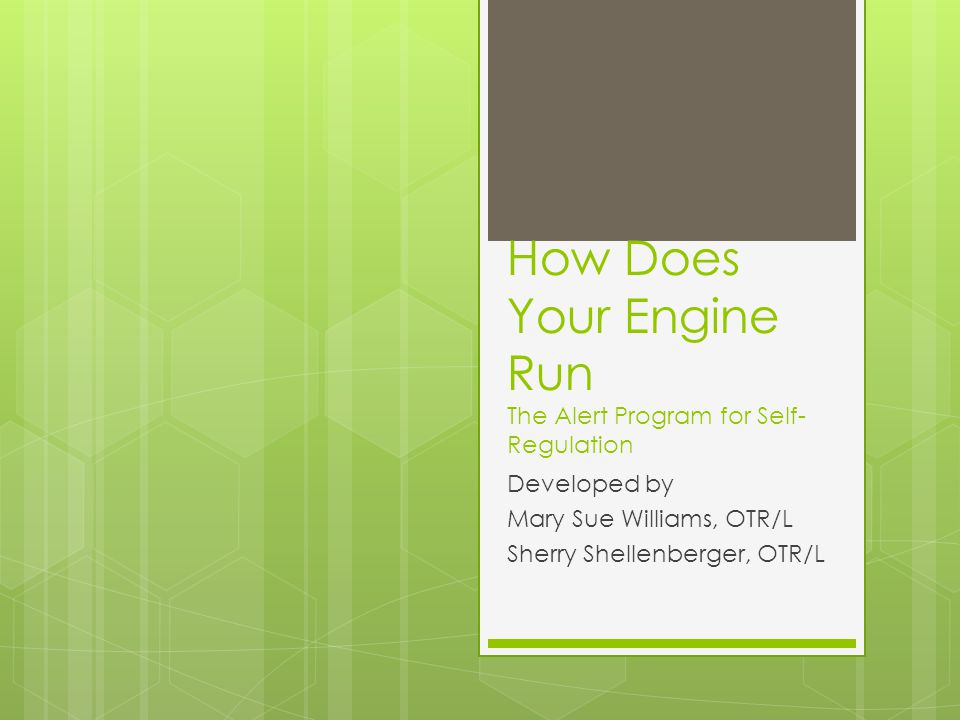 How Does Your Engine Run The Alert Program for Self- Regulation Developed by Mary Sue Williams, OTR/L Sherry Shellenberger, OTR/L