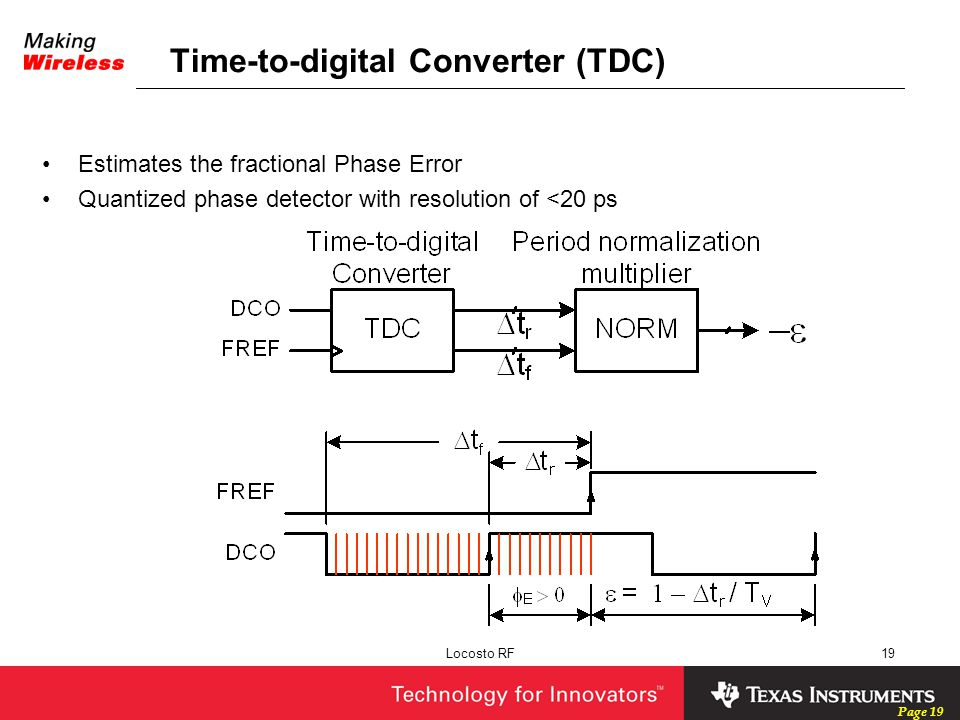Page 19 Locosto RF19 Time-to-digital Converter (TDC) Estimates the fractional Phase Error Quantized phase detector with resolution of <20 ps