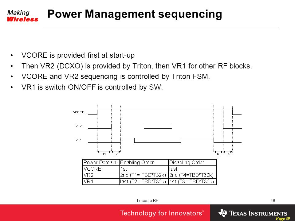 Page 49 Locosto RF49 Power Management sequencing VCORE is provided first at start-up Then VR2 (DCXO) is provided by Triton, then VR1 for other RF bloc
