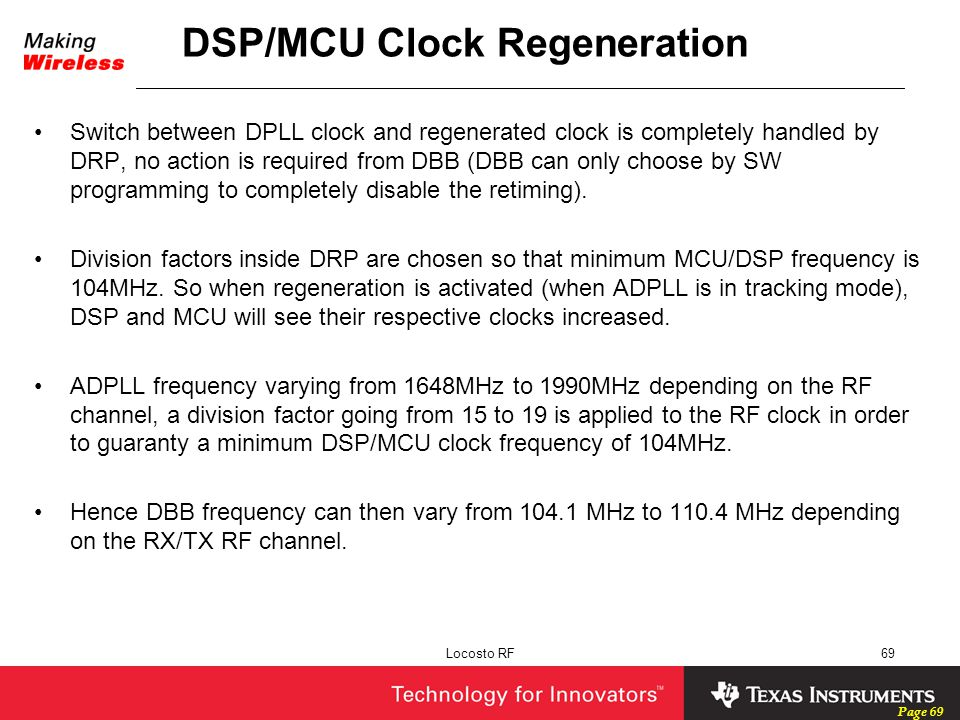 Page 69 Locosto RF69 DSP/MCU Clock Regeneration Switch between DPLL clock and regenerated clock is completely handled by DRP, no action is required fr