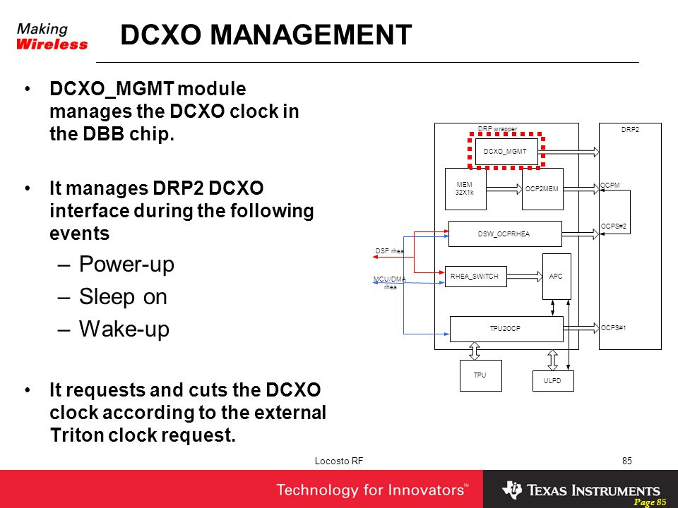Page 85 Locosto RF85 DCXO MANAGEMENT DCXO_MGMT module manages the DCXO clock in the DBB chip. It manages DRP2 DCXO interface during the following even