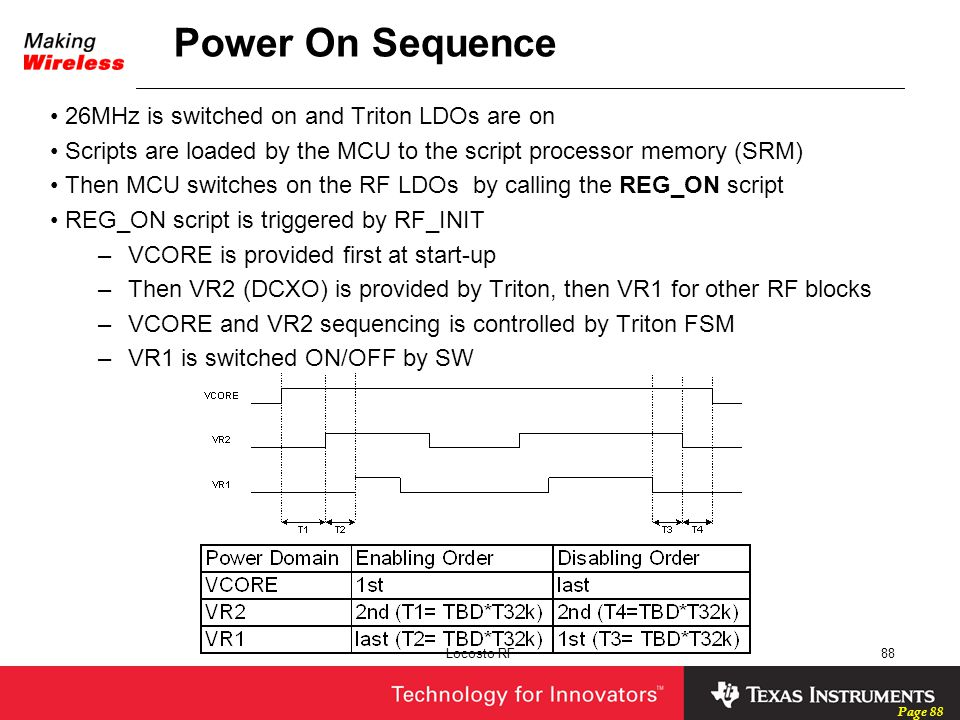 Page 88 Locosto RF88 26MHz is switched on and Triton LDOs are on Scripts are loaded by the MCU to the script processor memory (SRM) Then MCU switches