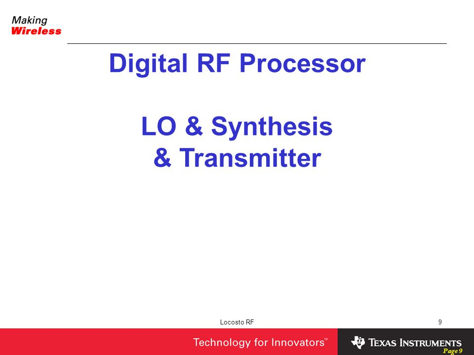 Page 9 Locosto RF9 Digital RF Processor LO & Synthesis & Transmitter