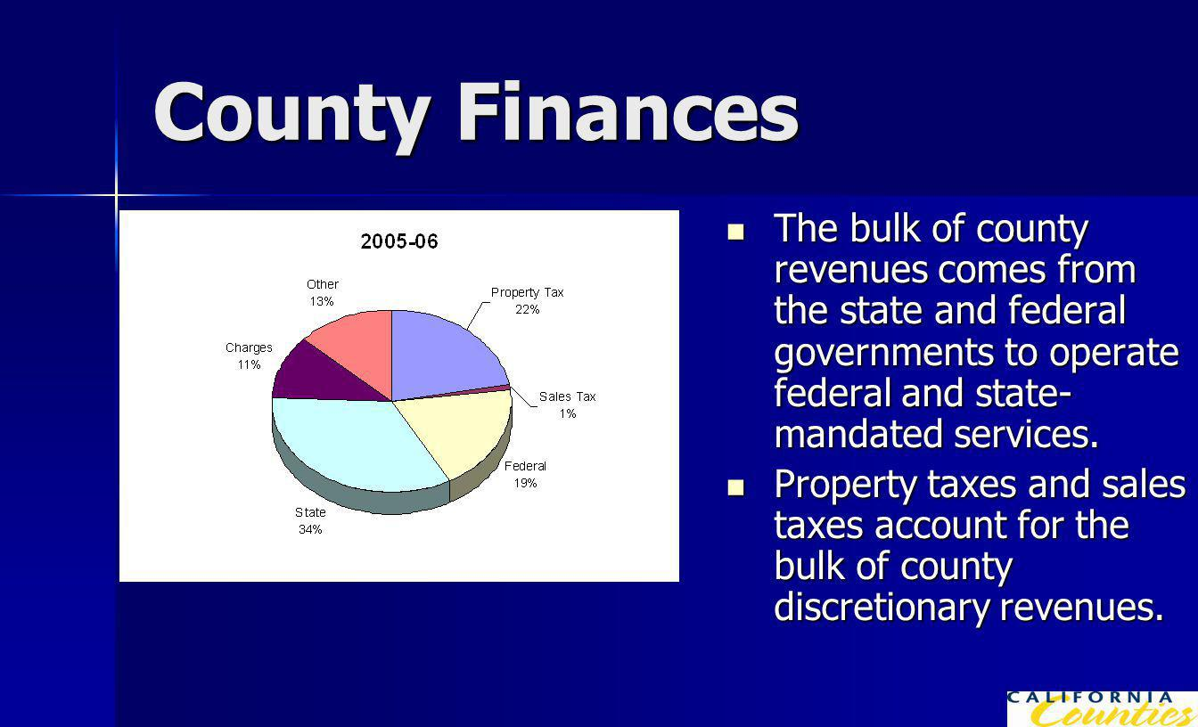 County Finances The bulk of county revenues comes from the state and federal governments to operate federal and state- mandated services.