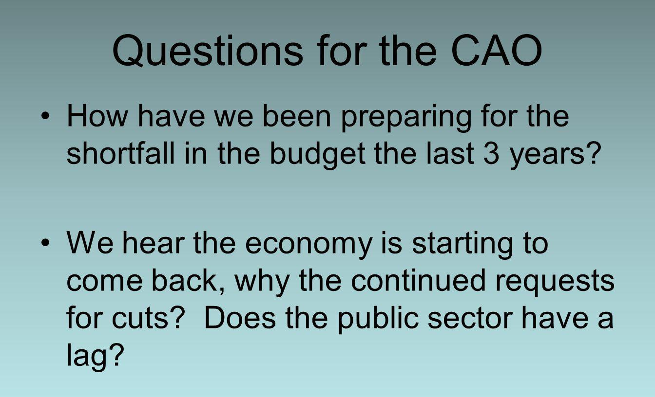 Questions for the CAO How have we been preparing for the shortfall in the budget the last 3 years.