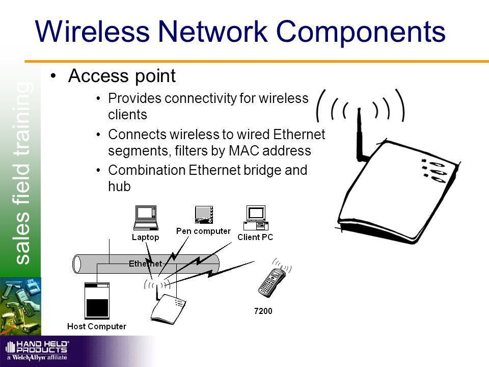 sales field training Wireless Network Components Access point Provides connectivity for wireless clients Connects wireless to wired Ethernet segments, filters by MAC address Combination Ethernet bridge and hub 7200