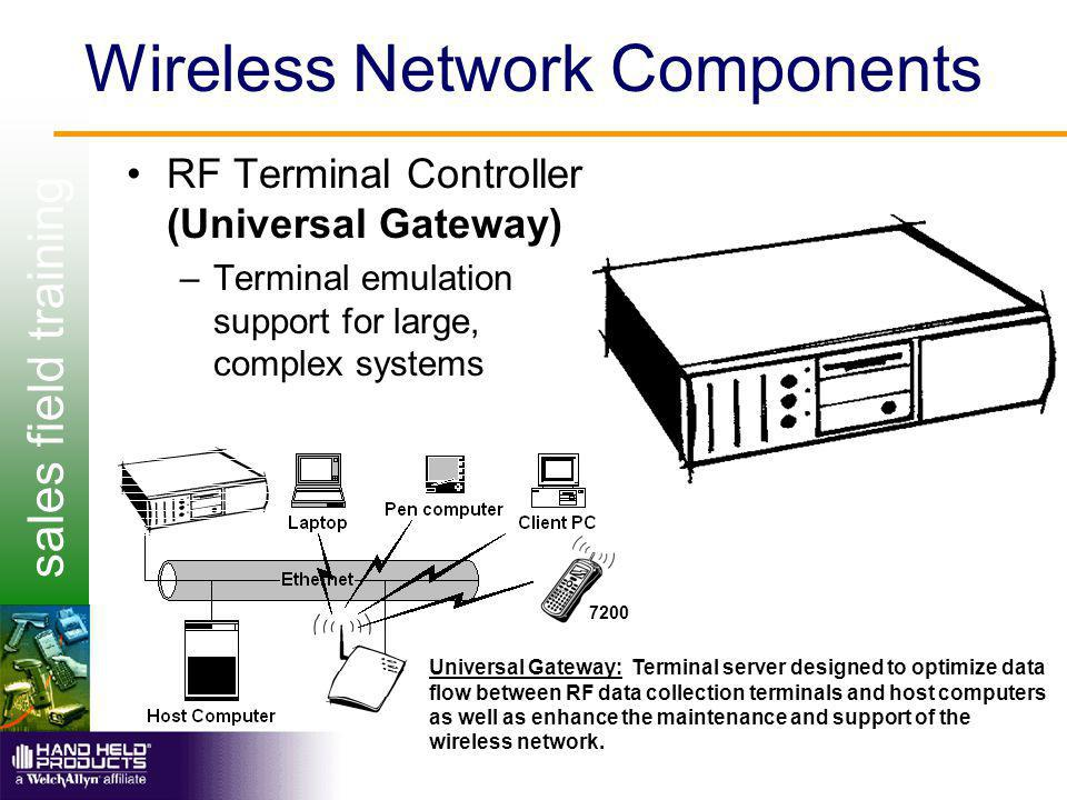 sales field training Wireless Network Components RF Terminal Controller (Universal Gateway) –Terminal emulation support for large, complex systems 720