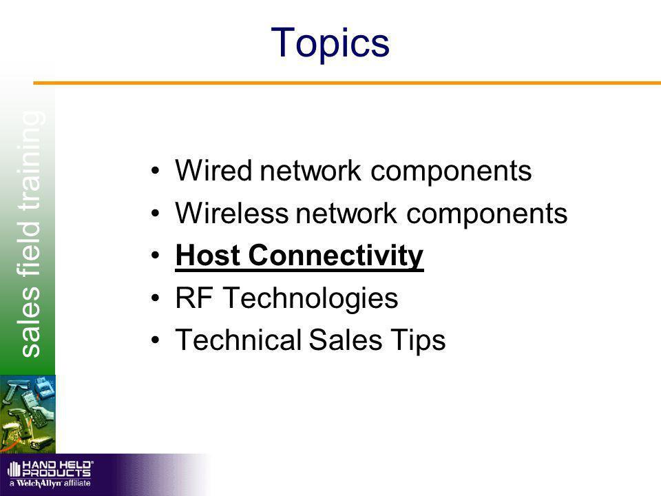 sales field training Wireless Network Components Host computer –Mainframe (S/390) –Midrange (AS400) –Unix (Sun) –PC (NT Server)
