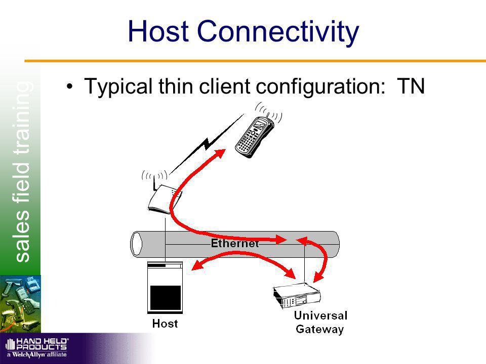 sales field training Host Connectivity Typical thin client configuration: TN