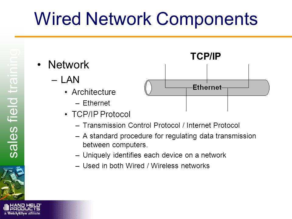 sales field training Wired Network Components Network –LAN Architecture –Ethernet TCP/IP Protocol –Transmission Control Protocol / Internet Protocol –A standard procedure for regulating data transmission between computers.