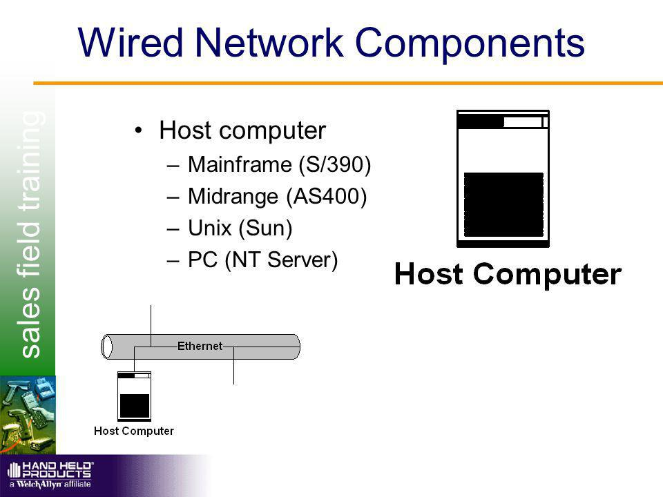 sales field training Wired Network Components Host computer –Mainframe (S/390) –Midrange (AS400) –Unix (Sun) –PC (NT Server)