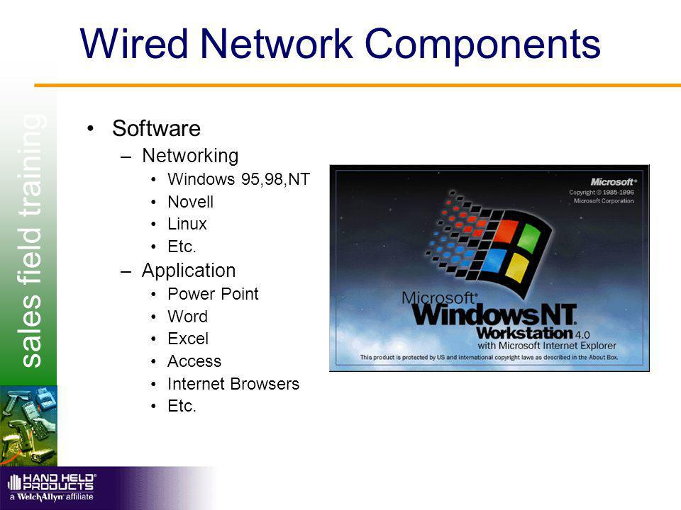 sales field training Wired Network Components Software –Networking Windows 95,98,NT Novell Linux Etc.
