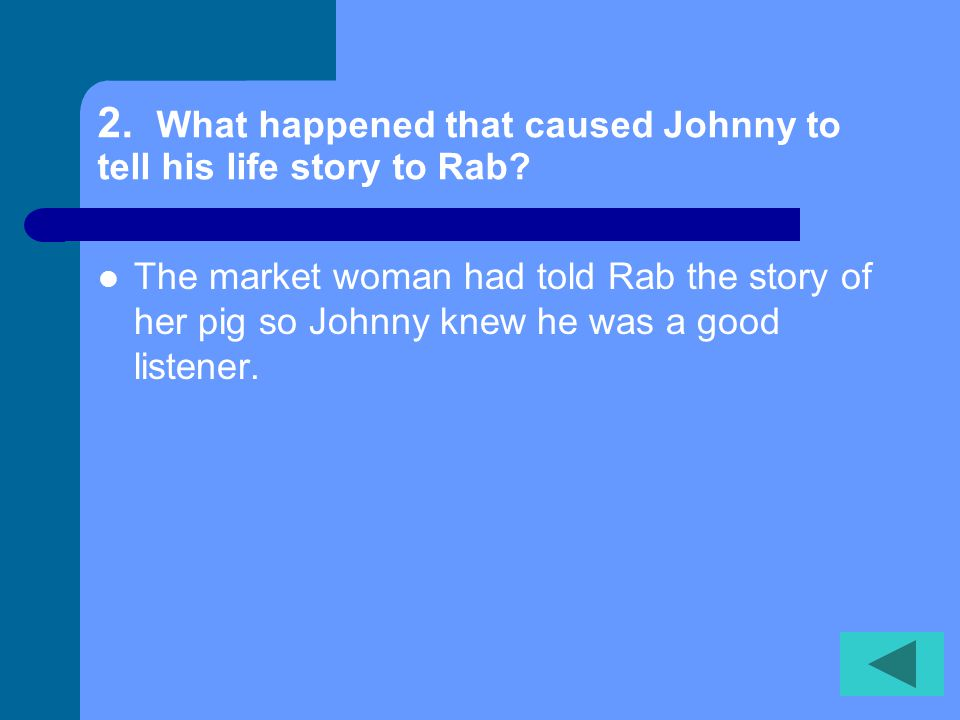 1.When did Johnny's mother tell him to show his silver cup to Merchant Lyte? When he had come to the end of everything.