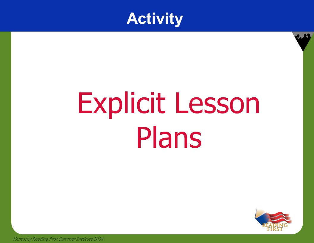12 Kentucky Reading First Summer Institute 2004 Activity Explicit Lesson Plans