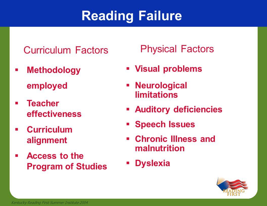 2 Kentucky Reading First Summer Institute 2004 Reading Failure Curriculum Factors  Methodology employed  Teacher effectiveness  Curriculum alignmen