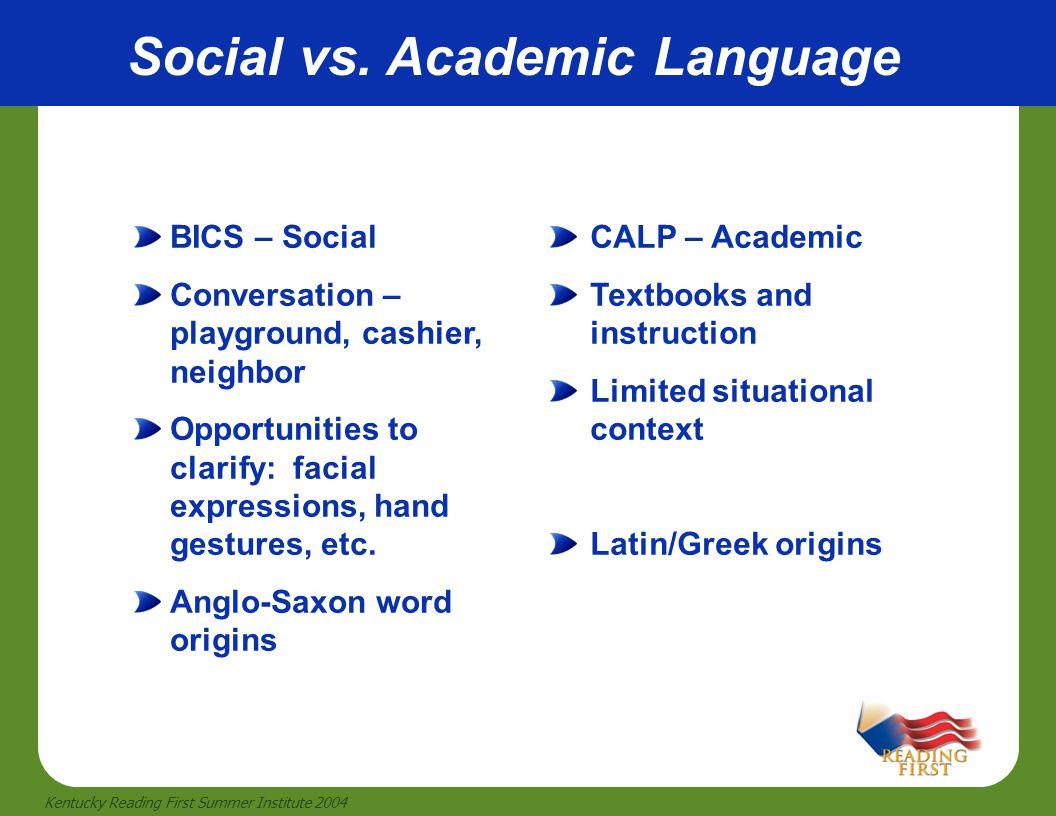 29 Kentucky Reading First Summer Institute 2004 Social vs. Academic Language BICS – Social Conversation – playground, cashier, neighbor Opportunities