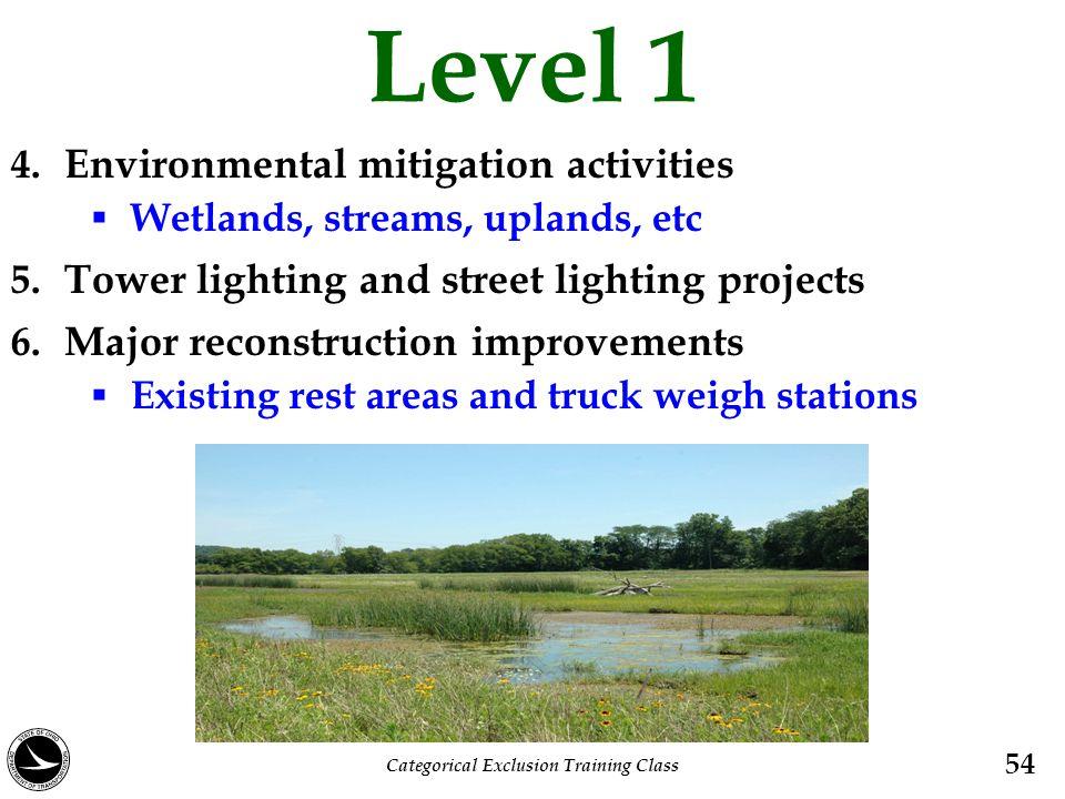 Level 1 4. Environmental mitigation activities  Wetlands, streams, uplands, etc 5. Tower lighting and street lighting projects 6. Major reconstructio