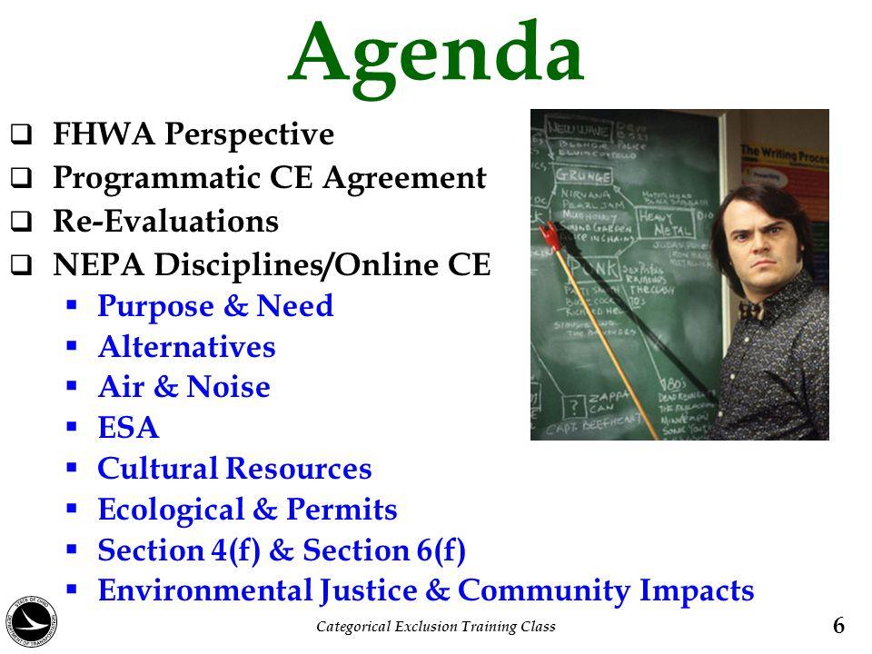 Agenda  FHWA Perspective  Programmatic CE Agreement  Re-Evaluations  NEPA Disciplines/Online CE  Purpose & Need  Alternatives  Air & Noise  ES