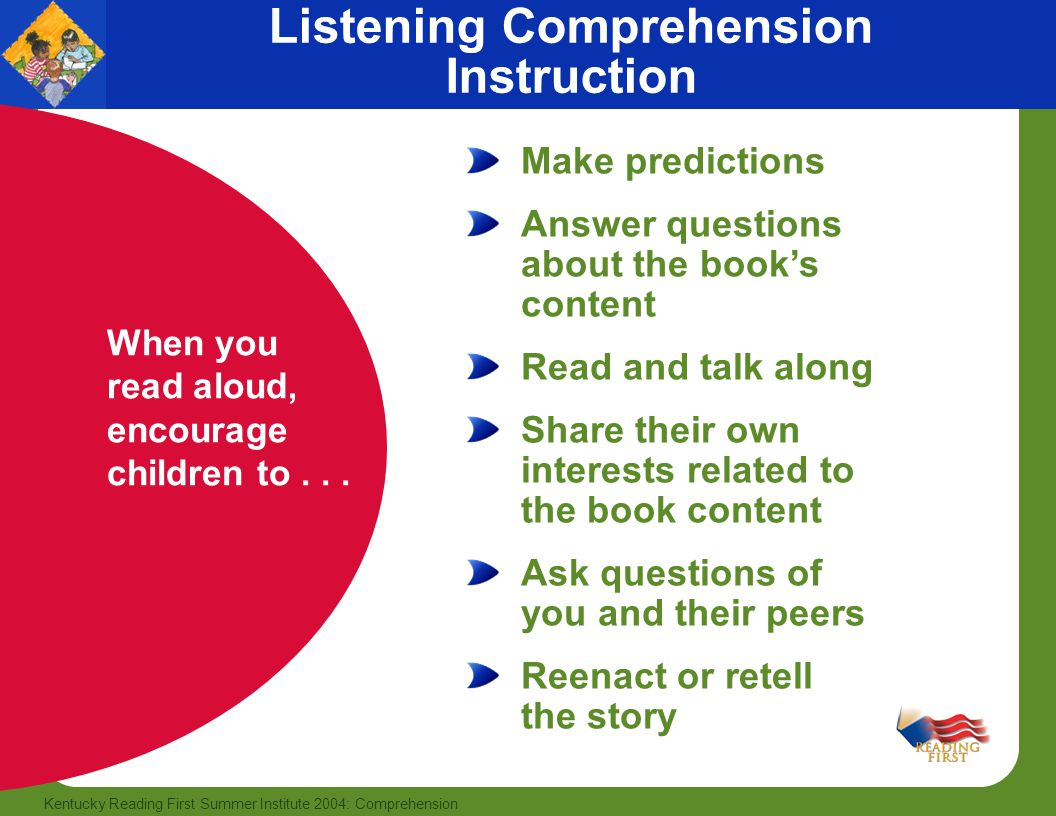 19 Kentucky Reading First Summer Institute 2004: Comprehension Listening Comprehension Instruction When you read aloud, encourage children to...