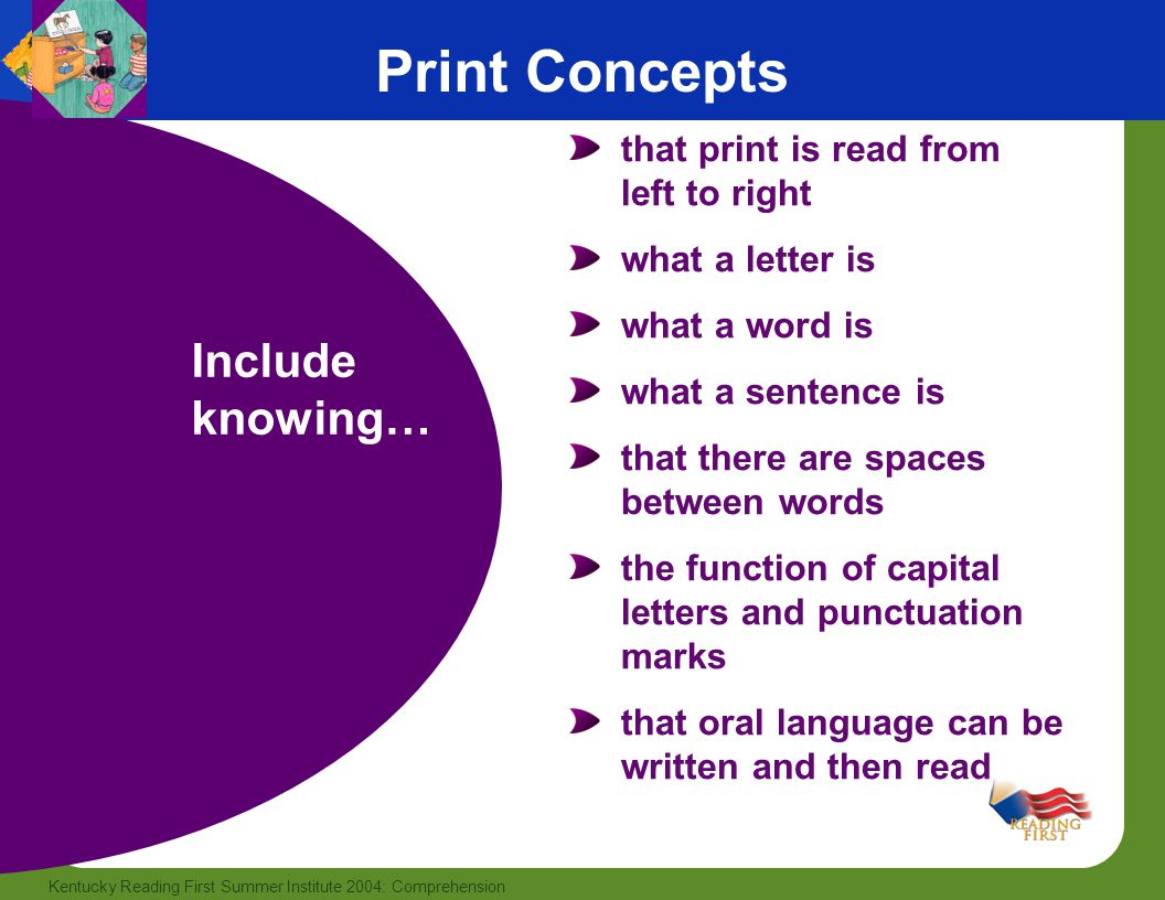 3 Kentucky Reading First Summer Institute 2004: Comprehension that print is read from left to right what a letter is what a word is what a sentence is that there are spaces between words the function of capital letters and punctuation marks that oral language can be written and then read Print Concepts Include knowing…