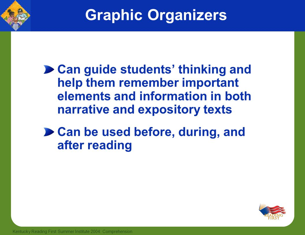 40 Kentucky Reading First Summer Institute 2004: Comprehension Graphic Organizers Can guide students' thinking and help them remember important elements and information in both narrative and expository texts Can be used before, during, and after reading