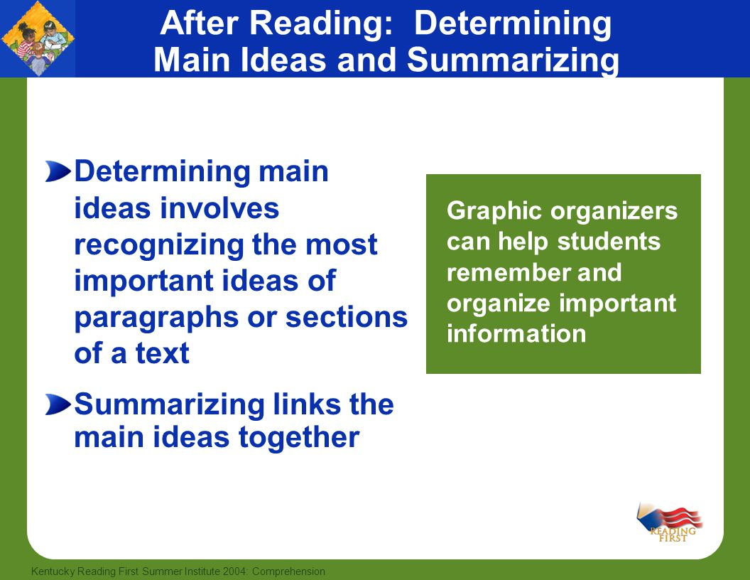 46 Kentucky Reading First Summer Institute 2004: Comprehension After Reading: Determining Main Ideas and Summarizing Determining main ideas involves r