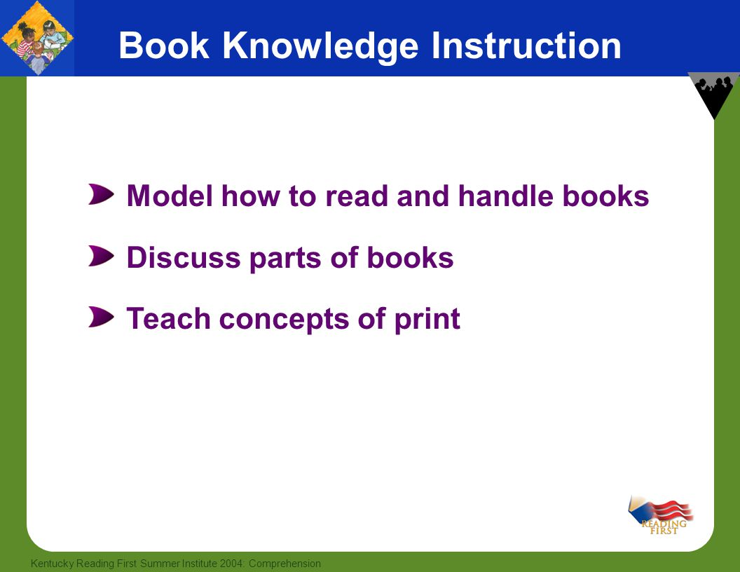 6 Kentucky Reading First Summer Institute 2004: Comprehension Model how to read and handle books Discuss parts of books Teach concepts of print Book K