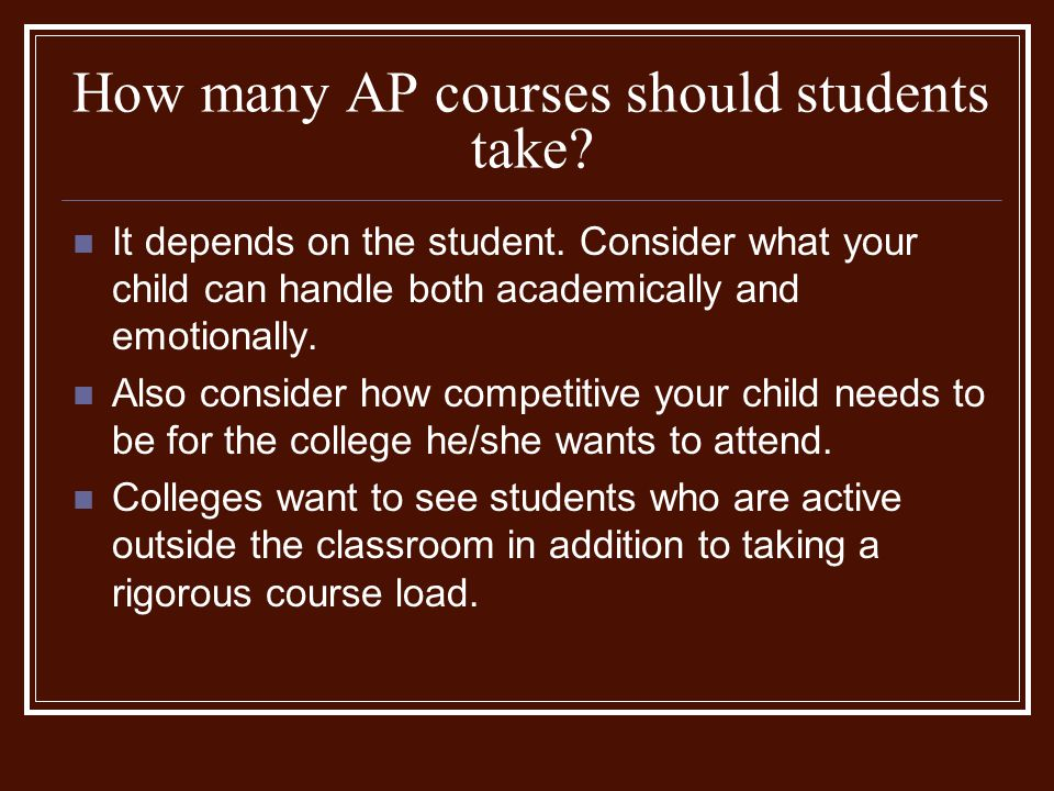 How many AP courses should students take.It depends on the student.