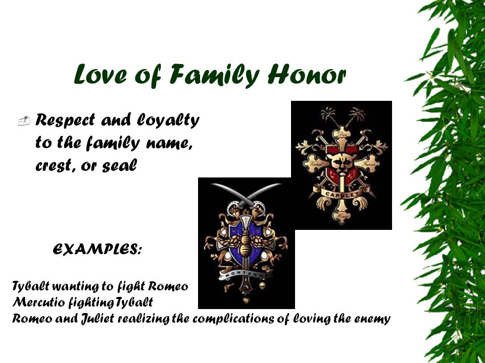 Love of Family Honor  Respect and loyalty to the family name, crest, or seal EXAMPLES: Tybalt wanting to fight Romeo Mercutio fighting Tybalt Romeo a
