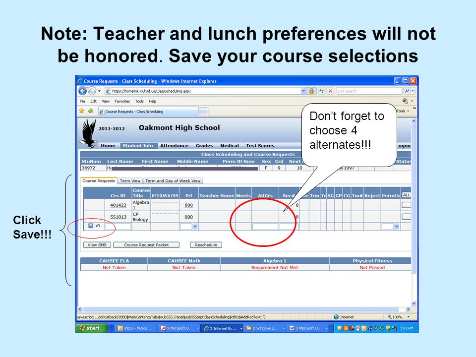 Choosing your alternates.1.Click the edit icon next to any selected course.