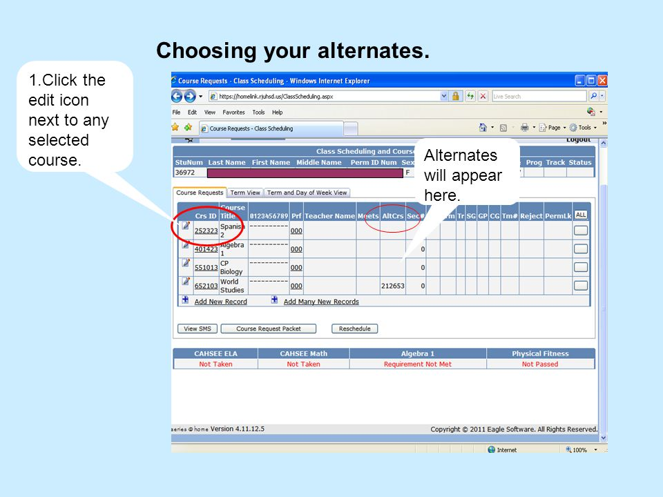 Choosing your alternates. 1.Click the edit icon next to any selected course.