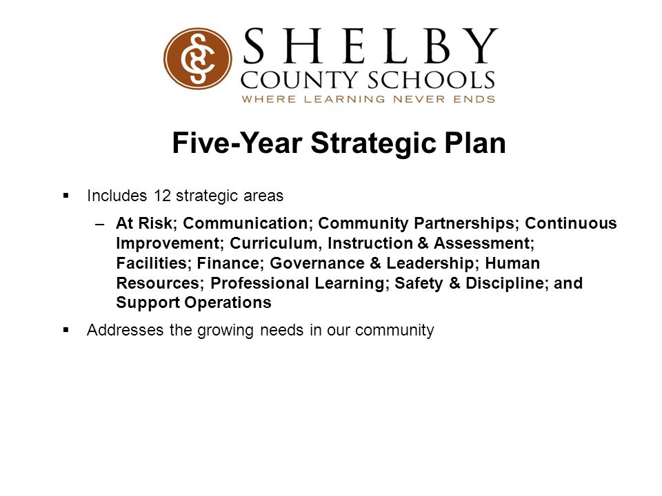  Includes 12 strategic areas –At Risk; Communication; Community Partnerships; Continuous Improvement; Curriculum, Instruction & Assessment; Facilities; Finance; Governance & Leadership; Human Resources; Professional Learning; Safety & Discipline; and Support Operations  Addresses the growing needs in our community Five-Year Strategic Plan
