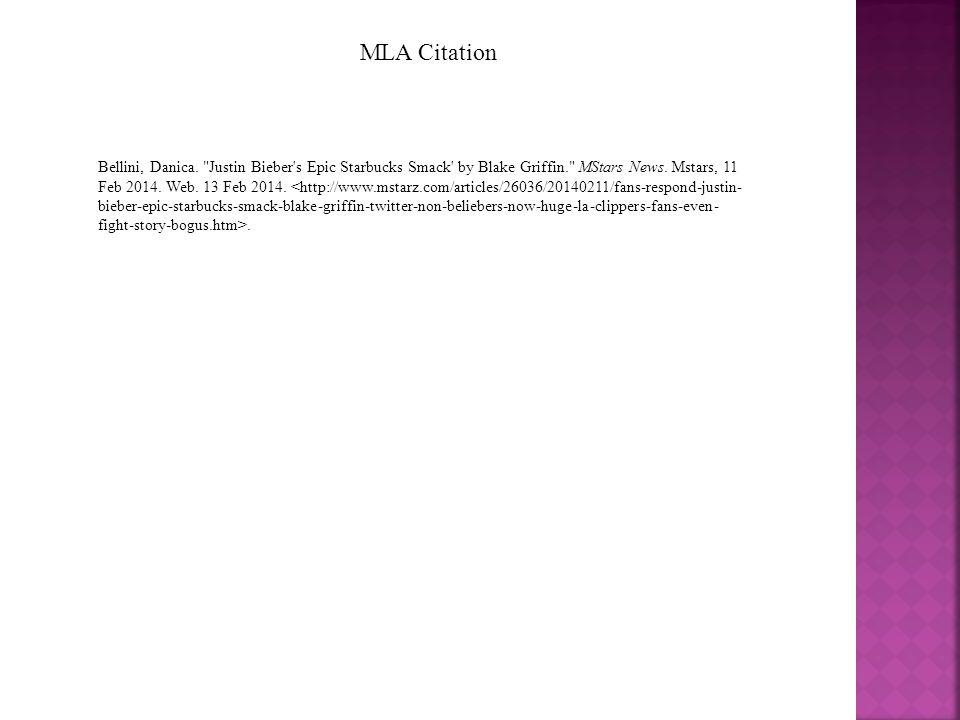 MLA Citation Bellini, Danica.