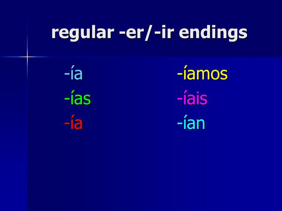 regular -er/-ir endings -ía-íamos -ías-íais -ía-ían