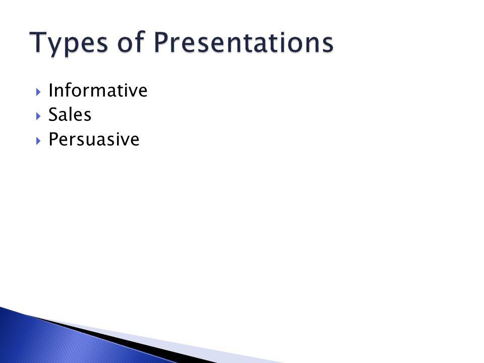  Informative  Sales  Persuasive
