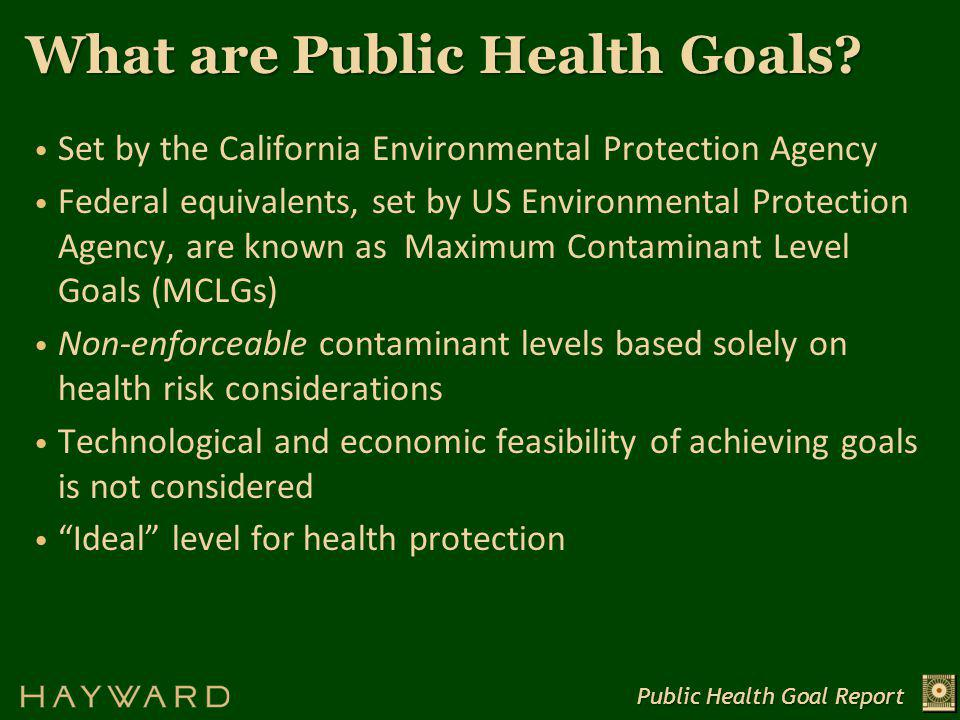 What are Public Health Goals.