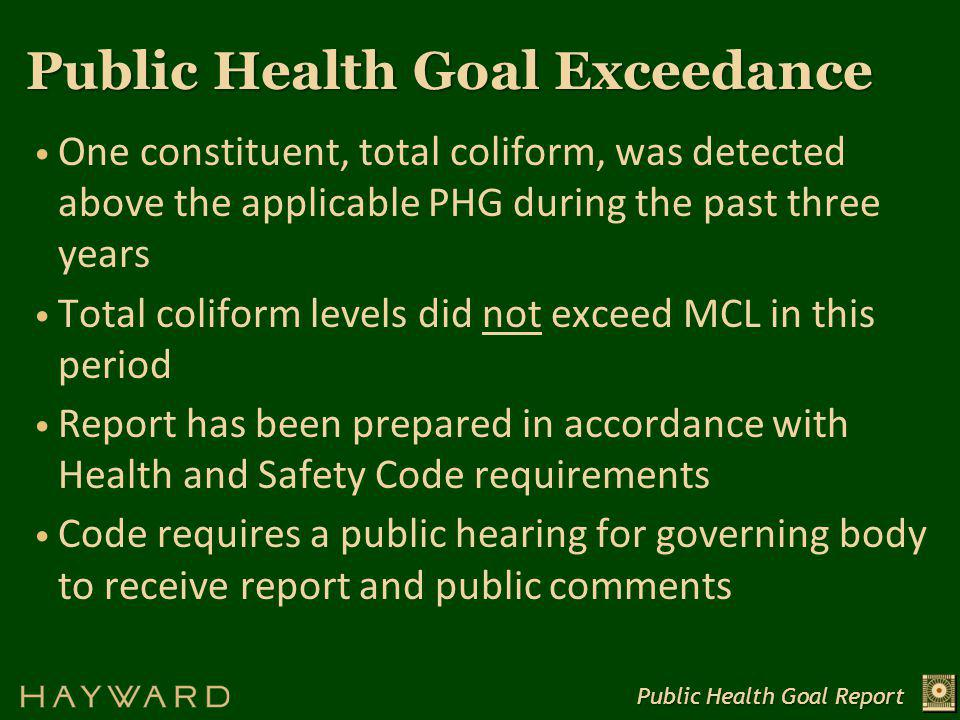Public Health Goal Exceedance Public Health Goal Report One constituent, total coliform, was detected above the applicable PHG during the past three years Total coliform levels did not exceed MCL in this period Report has been prepared in accordance with Health and Safety Code requirements Code requires a public hearing for governing body to receive report and public comments
