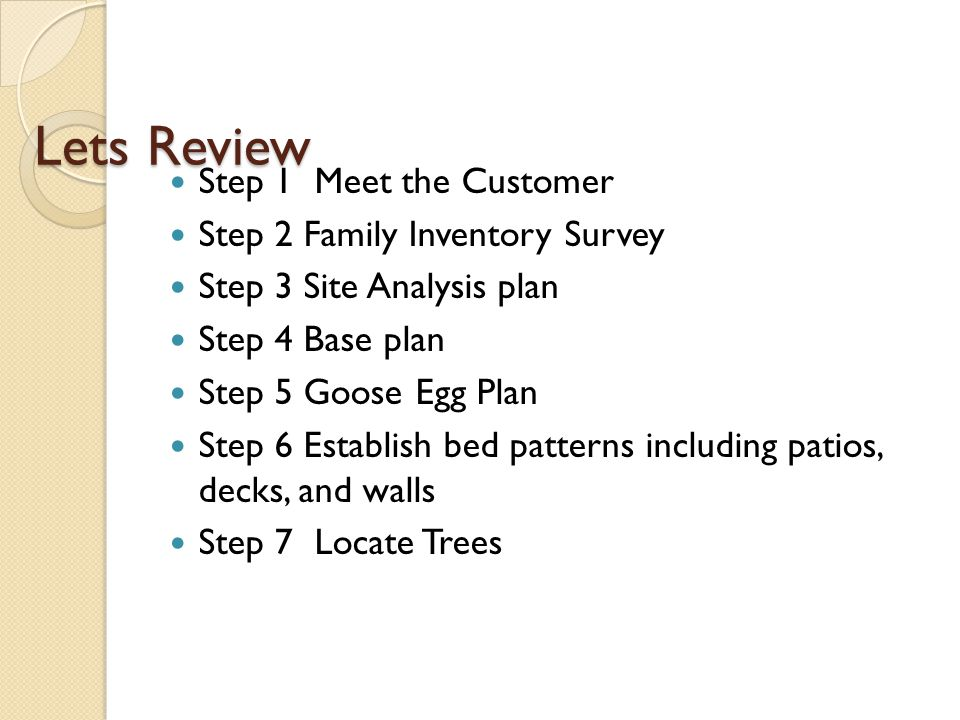 Lets Review Step 1 Meet the Customer Step 2 Family Inventory Survey Step 3 Site Analysis plan Step 4 Base plan Step 5 Goose Egg Plan Step 6 Establish bed patterns including patios, decks, and walls Step 7 Locate Trees