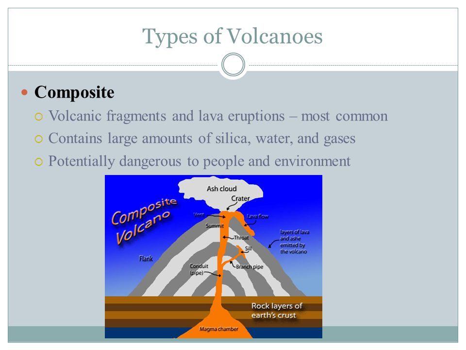 Types of Volcanoes Composite  Volcanic fragments and lava eruptions – most common  Contains large amounts of silica, water, and gases  Potentially