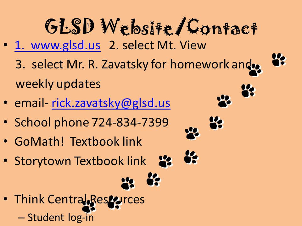 GLSD Website/Contact 1. www.glsd.us 2. select Mt.